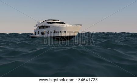 luxury motor yacht in the ocean