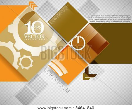 eps10 vector overlapping geometric squares with silhouette drawing inside background banner design