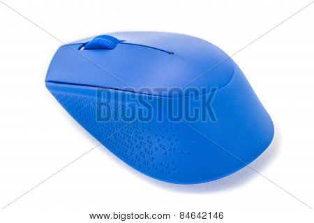 Blue Computer Mouse On White Background Studio Shoot