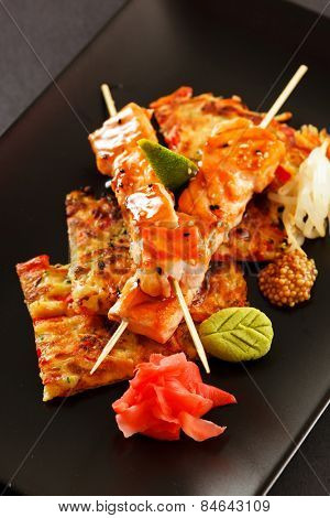 Japanese Skewered salmon with Vegetables