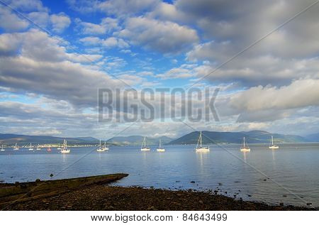 Boats sailing on the river Clyde
