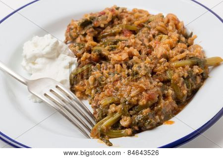 Traditional Turkish and East Mediterranean home-cooked minced beef and spinach, kymali ispanak, a popular comfort food.