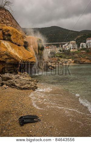 Thermal Waterfalls On The Beach In Loutro Edipsou, Evia, Greece