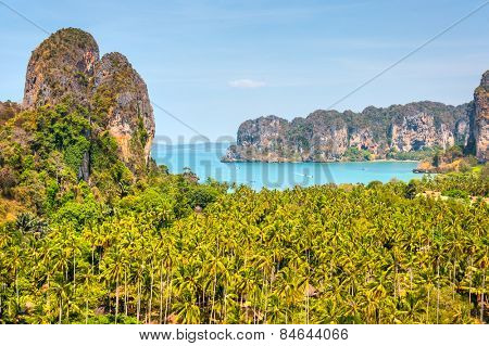 Railay west beach viewpoint, Krabi, Andaman sea Thailand