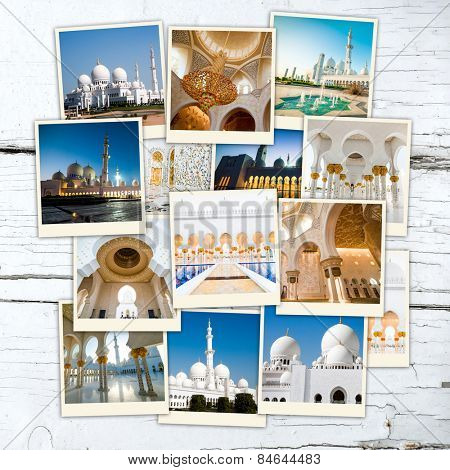 collage Abu Dhabi Sheikh Zayed White Mosque  on wooden table