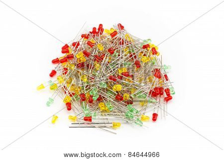 Pile Of Red Yellow And Green Led Light Bulbs