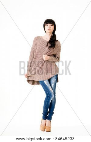 Young attractive Asian woman, full length portrait.