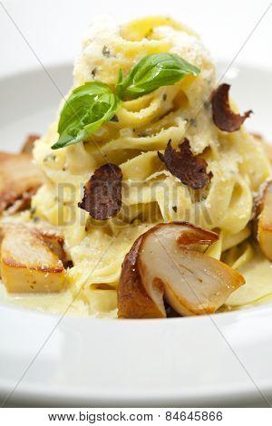 Tagliatelle with Mushroom, Cream Sauce, Truffle and Basil Leaf