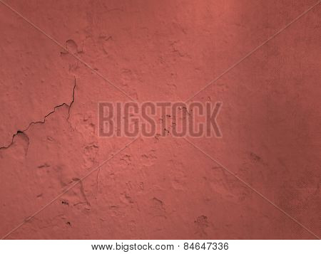 Red colored concrete texture with crack - abstract cement wall background
