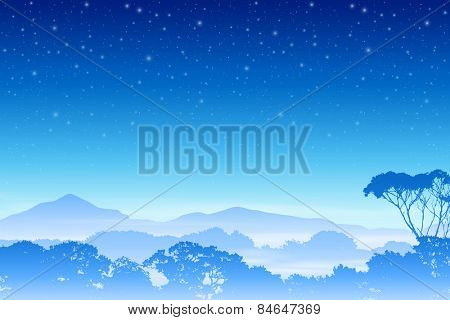 A Misty Forest Landscape with Trees and Night Sky. Vector EPS 10.