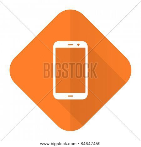 smartphone orange flat icon phone sign