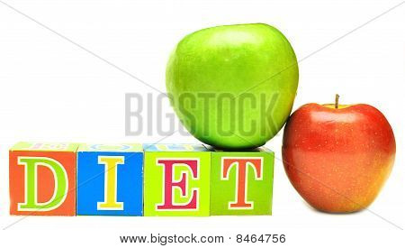 Green And Red Apple And Cubes With Letters - Diet