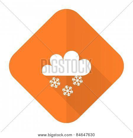 snowing orange flat icon waether forecast sign