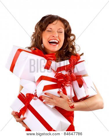 young woman with gifts. Shot in studio.
