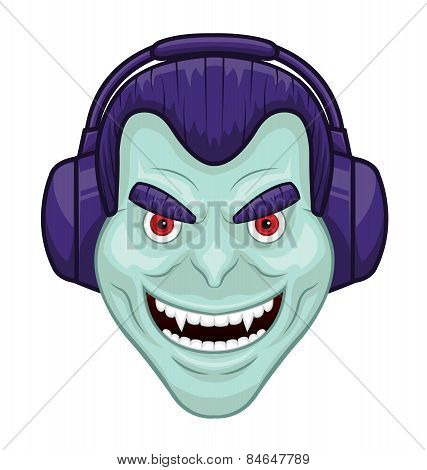 Vampire with headphones