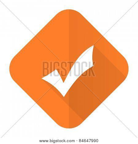 accept orange flat icon check sign