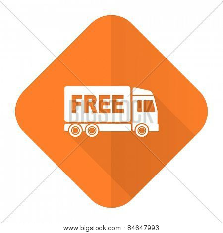 free delivery orange flat icon transport sign