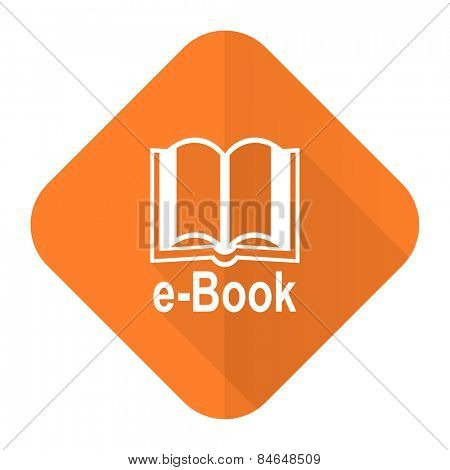 book orange flat icon e-book sign