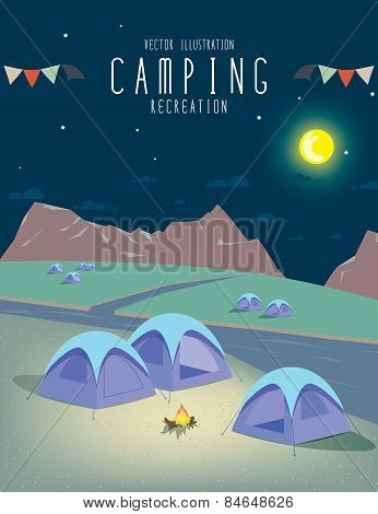 Camping In The Natural Atmosphere. (night)