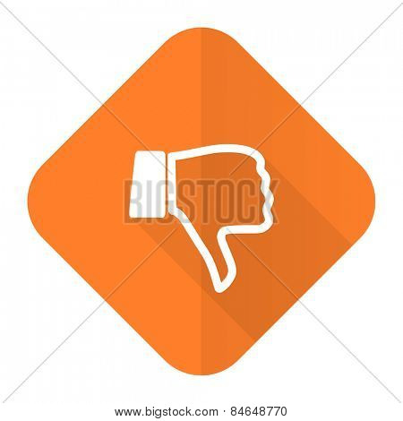 dislike orange flat icon thumb down sign