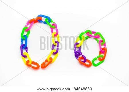 O And O Alphabet, Created By Colorful Plastic Chain