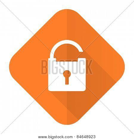padlock orange flat icon secure sign