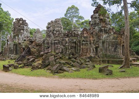Exterior of the Krol Ko temple in Angkor, Cambodia.