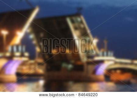blurred background with drawbridge