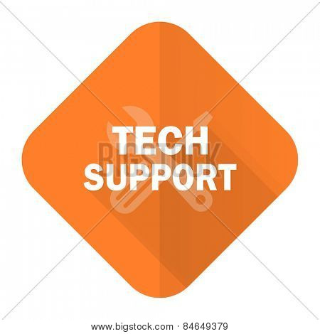 technical support orange flat icon