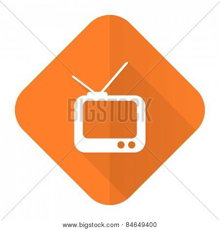tv orange flat icon television sign