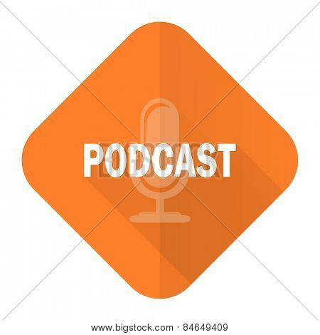 podcast orange flat icon