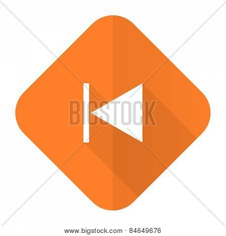 previous orange flat icon