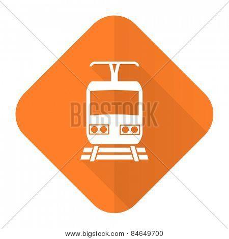 train orange flat icon public transport sign