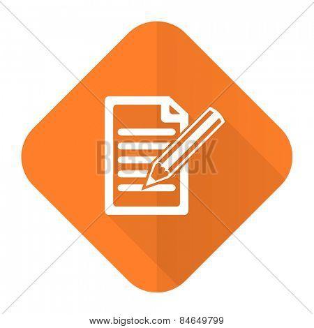 subscribe orange flat icon write sign