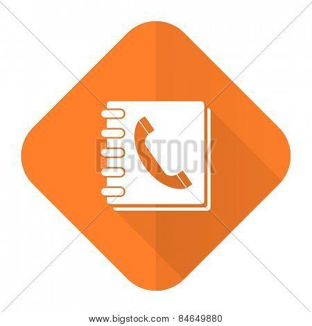 phonebook orange flat icon