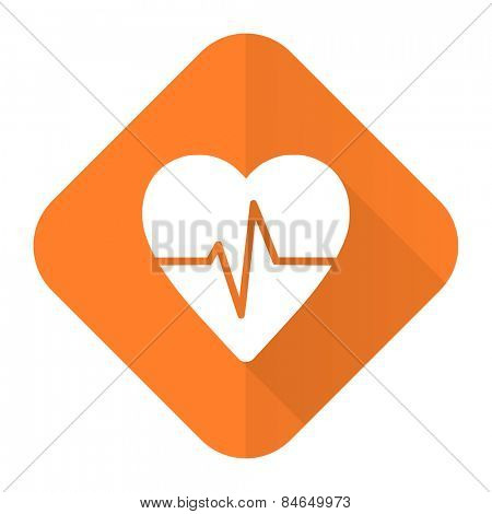 pulse orange flat icon heart rate sign