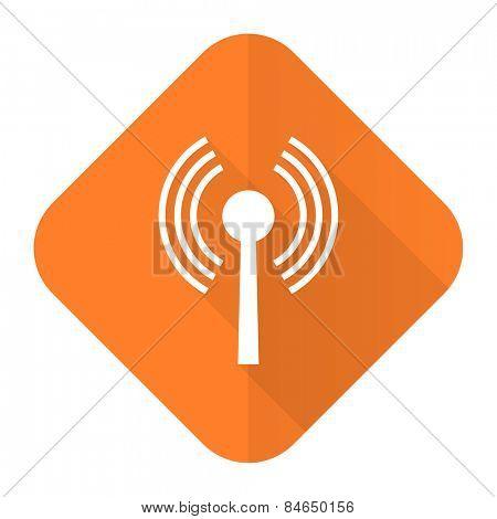 wifi orange flat icon wireless network sign