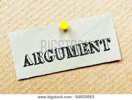 Recycled Paper Note Pinned On Cork Board. Argument Message