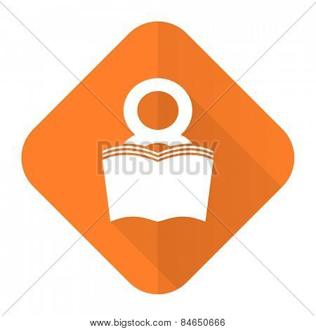 book orange flat icon reading room sign bookshop symbol