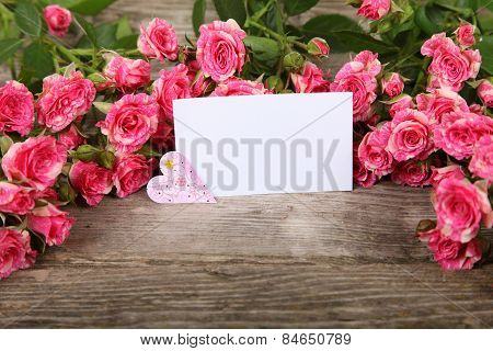 Bouquet Of Pink Roses, Heart  And Greeting Card