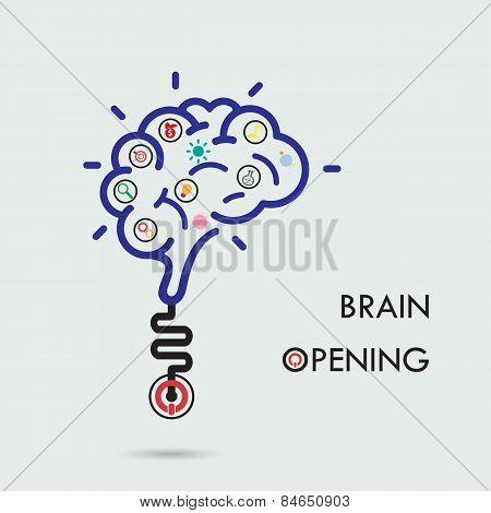 Brain Opening Concept.creative Brain Abstract Vector Logo Design Template.