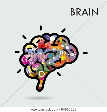 Creative Brain Idea Concept, Design For Poster Flyer Cover Brochure, Business Idea And Education Con