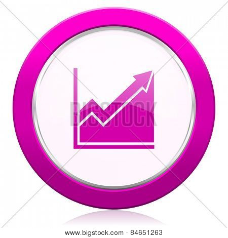 histogram violet icon stock sign