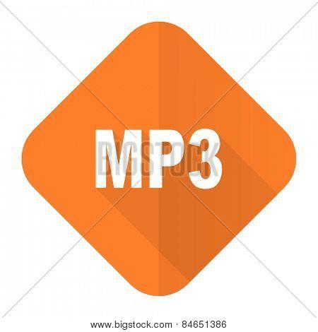 mp3 orange flat icon
