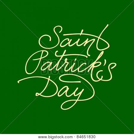Saint Patrick's Day hand lettering. Vector illustration