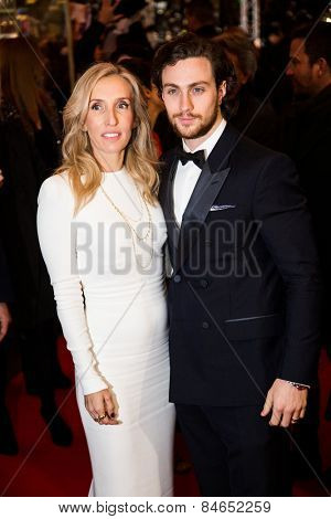 BERLIN, GERMANY - FEBRUARY 11: Sam Taylor-Johnson with husband Aaron, 'Fifty Shades of Grey' premiere. 65th Berlinale International Film Festival at Zoo Palast on February 11, 2015 in Berlin, Germany.