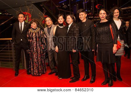 BERLIN, GERMANY - FEBRUARY 14: Do Thi Hai Yen, Calvin Tai Lam  and film team attend the Closing Ceremony of the 65th Berlinale International Film Festival on February 14, 2015 in Berlin, Germany