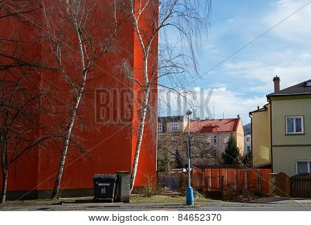Residential Quarter Of Bright Color Building In Teplice, Czech Republic.