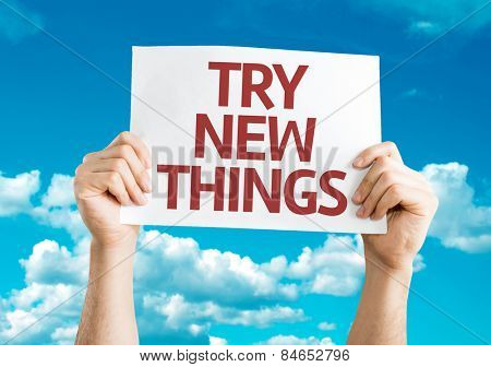 Try New Things card with sky background