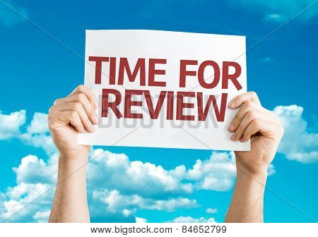 Time for Review card with sky background